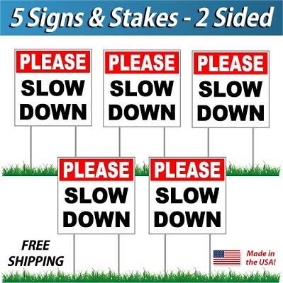 5x - Please Slow Down Signs Corrugated Plastic Free Stakes 5 Pack Rb