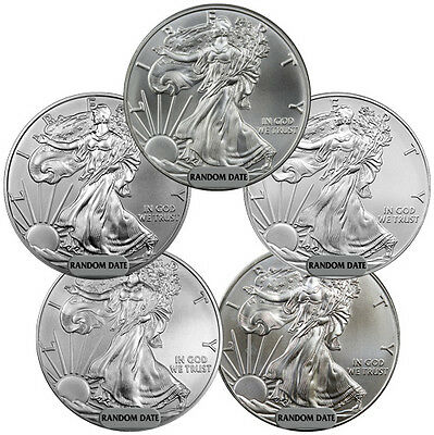 Grab Bag of 5 -Random Year 1 oz American Silver Eagle Coins SKU39414