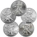 Grab Bag of 5 -Random Year 1 oz American Silver Eagle Coins SKU39414