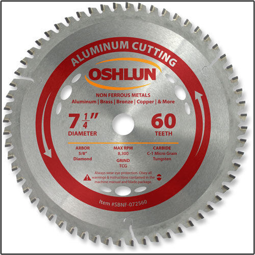 "OSHLUN SBNF-072560  7-1/4"" x 60T Aluminum Cutting Saw Blade"