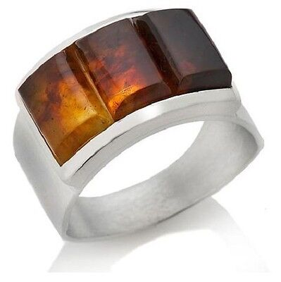 Rectangular Amber Ring - Jay King Sterling Silver Bezel Set Rectangular Amber 3-Stone Band  Ring Sz 6