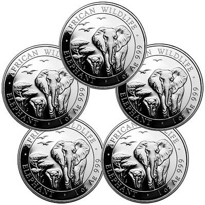 Lot of 5 2015 Somalia 1 Troy Oz Silver Elephant - African Wildlife 100S SKU33250