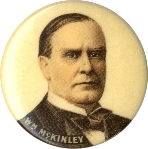 Variant 1900 William McKinley Chromo Portrait Campaign Button w/ Adv. Back Paper