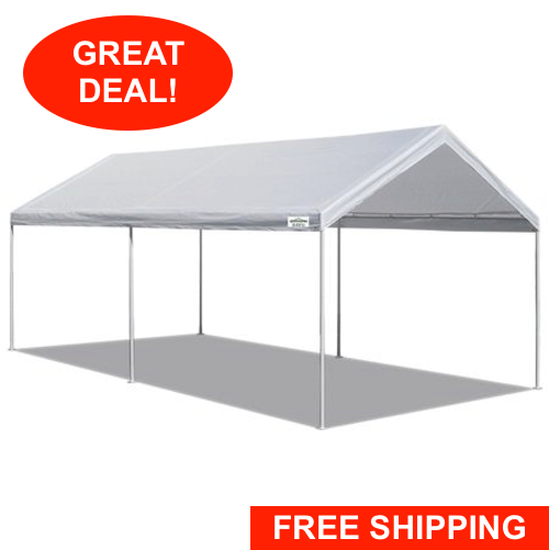 White Heavy Duty Canopy Tent 10 x 20 FT Steel Carport Portab