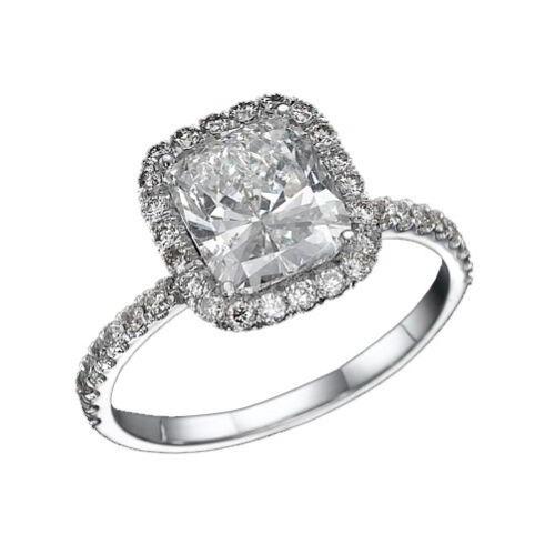 2 CARAT D VVS CUSHION CUT WOMEN DIAMOND ENGAGEMENT RING 18K WHITE GOLD
