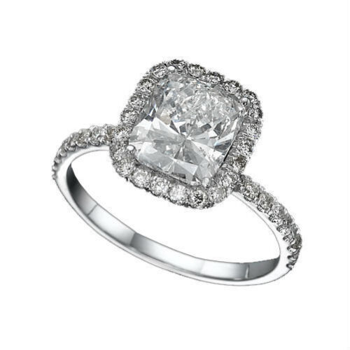 2 CARAT D VVS CUSHION CUT WOMEN DIAMOND ENGAGEMENT RING 18K WHITE GOLD