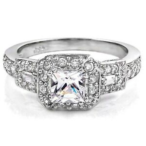 Sterling-Silver-Size-8-Ring-Halo-CZ-Princess-Cut-Engagement-Bridal-Solitaire-r69