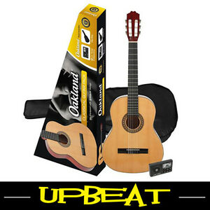 Oakland Full Size Classical Nylon String Guitar Pack - Includes Tuner & Bag