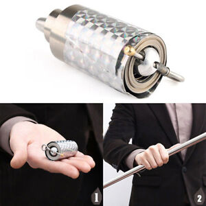 Trick  Magic Gimmick Silver Magic Item Appearing Cane Wand Stick Metal Stage