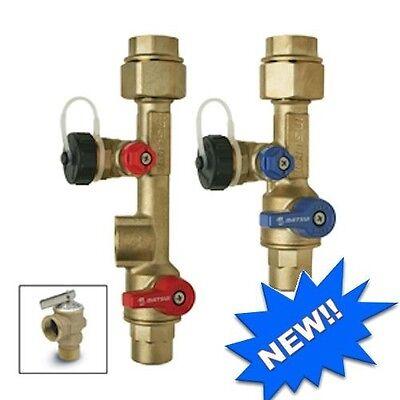 """Rheem-3/4""""Tankless Water Heater Isolation Valve Kit(Sweat) for Flushing Descaler"""