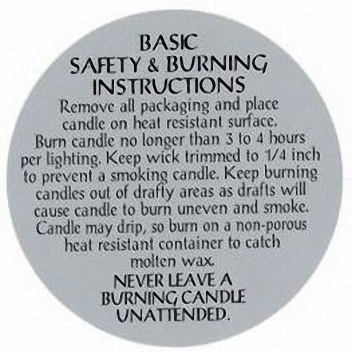 """Safety & Burning Instruction Labels (2-1/2"""") for PILLAR Candles (100 count)"""