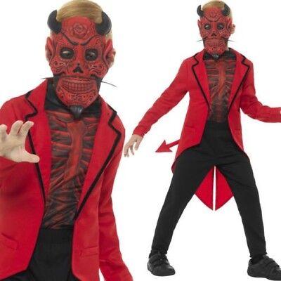 Kinder Deluxe Tag der Toten Teufelskostüm Halloween Rot Satanisch - Tag Der Toten Teufel Kostüm