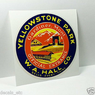 Yellowstone Park Entrance Vintage Style Travel Decal,Vinyl Sticker,Luggage Label