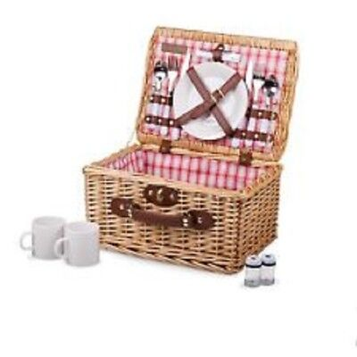 Deluxe Picnic Time 2 Person Catalina Wicker Picnic Basket Set with Flatware New 2 Person Wicker Picnic Basket