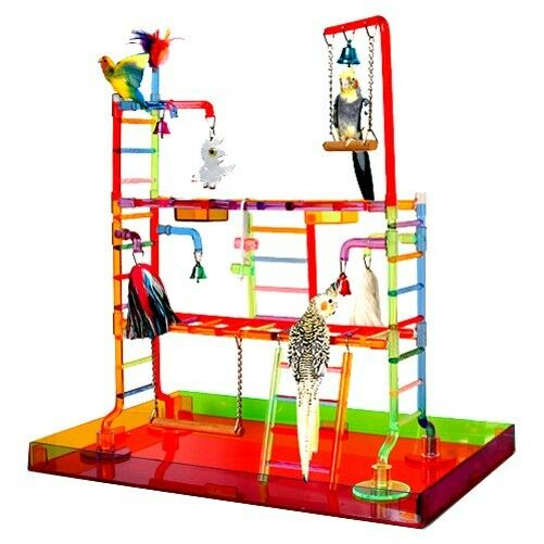 Acrylic Play Stand Pen Gym Parrot Bird Cages Toy Toys Coc...