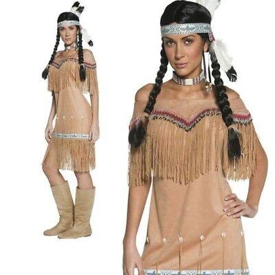 Erwachsene Authentisch Western Indian Damen-Kostüm Pocahontas Squaw Kostüm 8-18 ()