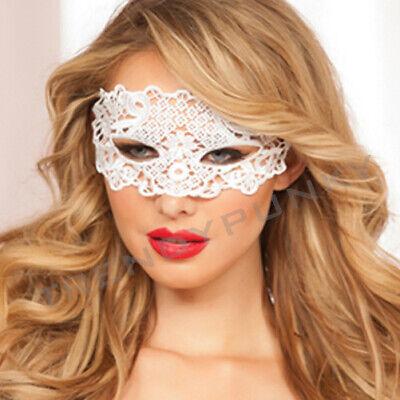 Lace Eye Mask Fantasy Applique Masquerade Mask Venetian Mardi Gras Prom White - Fantasy Mask