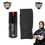 2 oz Streetwise 18 PEPPER SPRAY and Police Force Heavy Duty Tactical HOLSTER