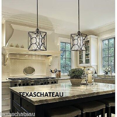 FRENCH FARMHOUSE RUSTIC BLACK GLASS PENDANT LIGHT FIXTURE KITCHEN ISLAND TUSCAN