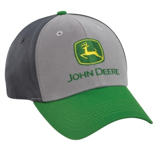 JOHN DEERE *COLORBLOCK GREEN & GREY FITTED* HAT CAP *BRAND NEW*