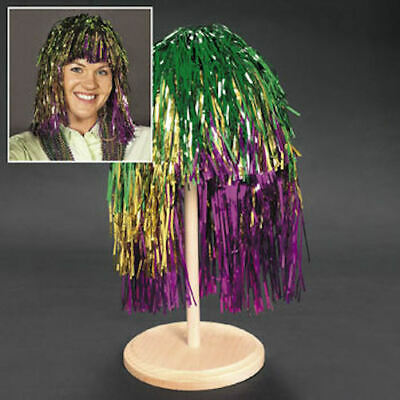 Mardi Gras Wigs (Mardi Gras Colorful Tinsel Foil Metallic WIG Halloween)