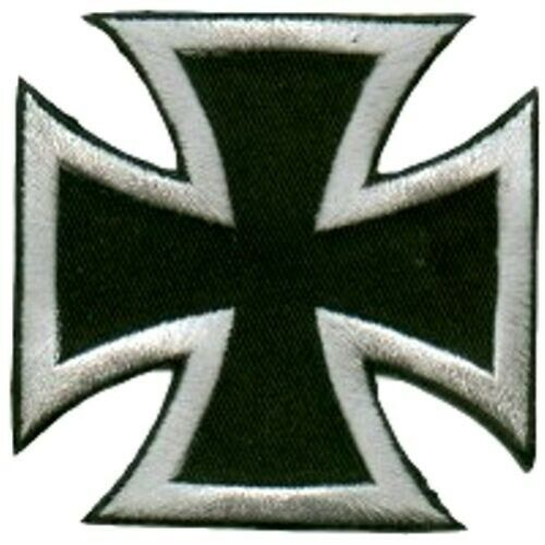 IRON CROSS PATCH EMBROIDERED SILVER ON BLACK BIKER CHOPPER MOTORCYCLE PATCHES