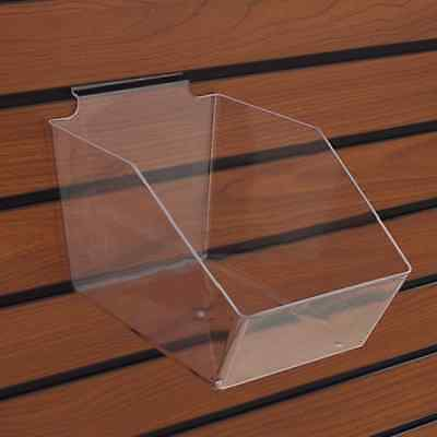 "10 Slatwall Bins Dump Acrylic Clear 7 ½"" X 6"" X 5 ½"" Wire Grid + 20 Adapters"