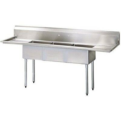 California Cooking 3 Compartment Commercial Kitchen Sink With 2 Drainboards