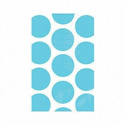 Candy Buffet Caribbean Blue Polka Dot Paper Treat Bags x 10
