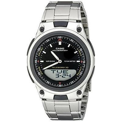 Casio Men's Analog-Digital 30-Page Databank Stainless Steel Watch AW80D-1AV