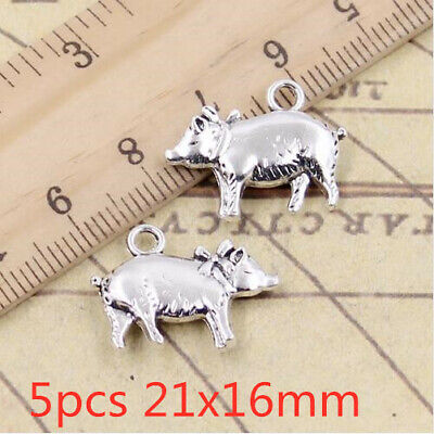 5pcs Antique Silver Pig Charm Tone Pendant Bead Jewelry Making Craft DIY 21x16mm