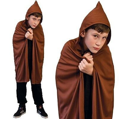 Childrens Fancy Dress Hooded Cape Brown Kids Childs Cloak with Hood