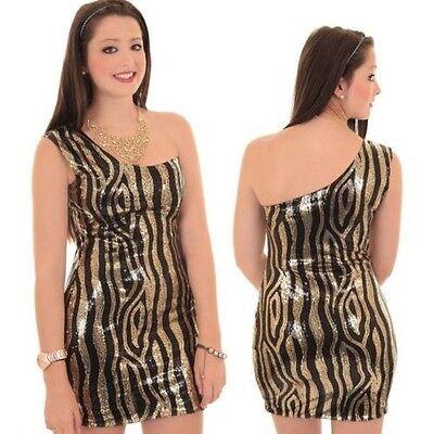 Pailletten Zebra-kleid (Damen Einschultrig Gold Glänzend Schwarz Pailletten Tiger Zebramuster Eng)