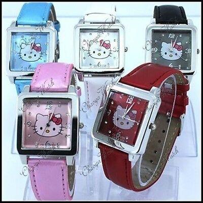 hr 5 Farben Lederarmband Quarz Armbanduhr - UK Verkäufer (Hello Kitty Leder)