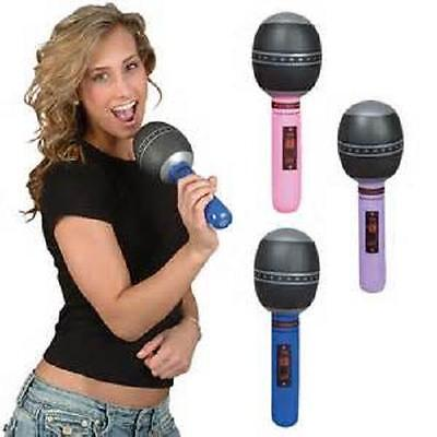 "12 INFLATABLE MICROPHONES 10"" Birthday Party Favor Rock Prop #BB15 Free Shipping"