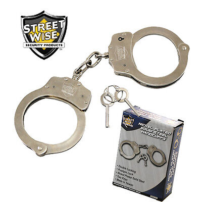 Nickel Plated Steel HANDCUFFS - Double Locking with 2 Keys - Streetwise Security