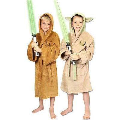 Star Wars Kinder Kleidung (Star Wars Kinder Luxus Bademantel Yoda / Jedi S M L Clone Wars Mantel neu)