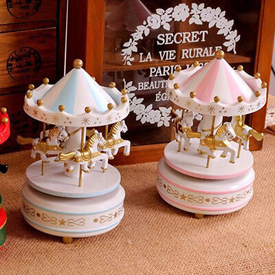 Vintage Wooden Merry-Go-Round Carousel Music Box For Kids Girls Birthday Gift