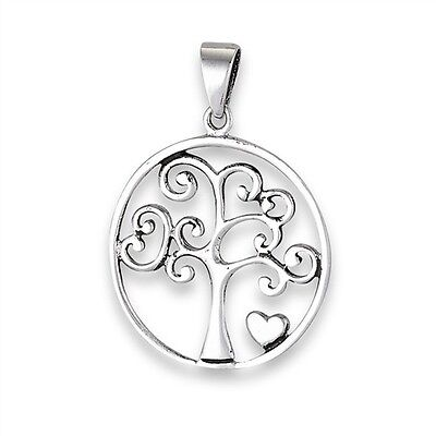 Sterling Silver 925 Celtic Swirly TREE OF LIFE Pendant w Heart