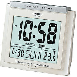 Casio DQ750F-7D White LED Light Digital Alarm Desk Clock Thermometer Snooze NEW