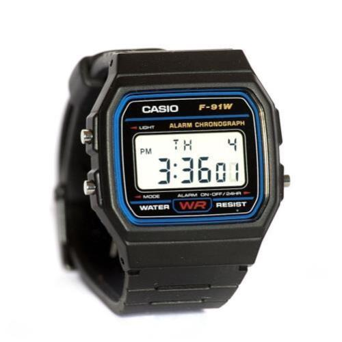 Mens Watches - Casio Men's F91W-1 Classic Black Digital Resin Strap Watch