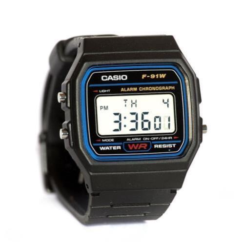 Mens Watches - Casio Men's F91W-1 Classic Black Digital Resin Strap Watch