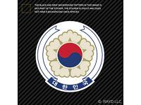 Round South Korean Flag Sticker Decal Vinyl South Korea KOR KR
