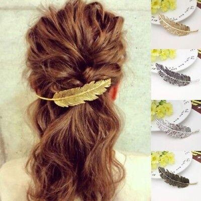 moda donna ragazza Piuma forma Fermaglio per capelli forcina spilla DECORAZIONE