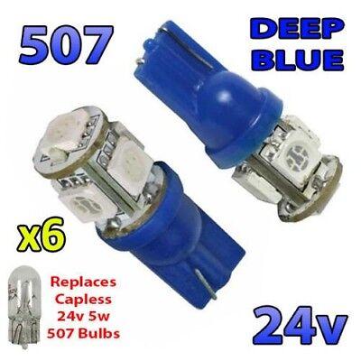 6X Azul 24v sin Tapa Hella Foco 507 W5W 5 SMD T10...