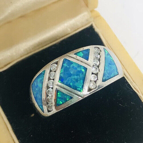 Wide Sterling Silver Fire Opal Ring Band Inlaid Mosaic Size 7 Vintage Jewelry