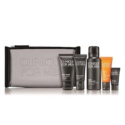 Worth.£46 Clinique For Men Gift Set Face Wash scrub Aloe Shave Gel Eye Cream Bag
