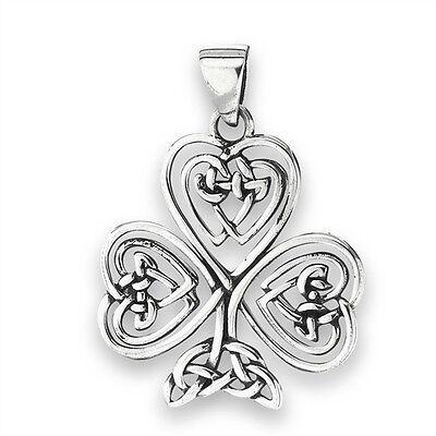 CELTIC SHAMROCK Pendant Heart knot work charm 925 Sterling Silver Irish Clover ()