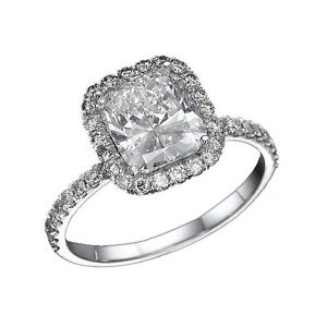 1.65 CT DIAMOND ENGAGEMENT RING CUSHION CUT SIZE 5 6 6.5 7 WHITE 14K GOLD