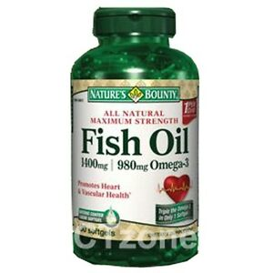 130 natures bounty fish oil 1400 mg omega 3 heart vascular for How many mg of fish oil per day